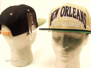 New Orleans SNAPBACK CITY CAP Adjustable Hat Retro Vintage Black Khaki