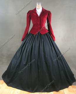 Civil War Victorian Velvet Day Dress Ball Gown 166 XXL