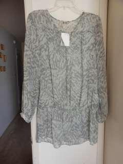 265 NWT Haute Hippie Jade Chiffon Blouse Animal Prints Grey Combo