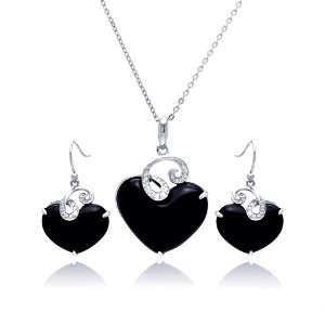 Nickel Free Sterling Silver Necklace & Earring Sets CZ Wave Onyx Heart