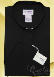 BLACK 24 TAB COLLAR WOMENS CLERGY SHORT SLEEVE SHIRT