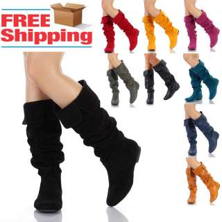 Womens Shoes Slouchy Knee High Suede / Crinkle Flat Boots Size