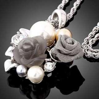ARINNA Swarovski Crystal rose pearl GP fashion Necklace