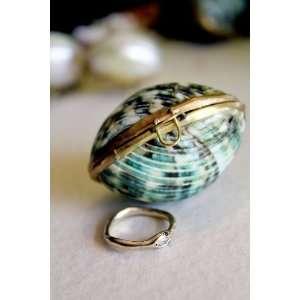 Seashell Emerald Green Jewelry Box Perfect for a Beach Wedding