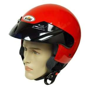 Motorcycle Street Bike Open Face 3/4 Adult Helmet Red