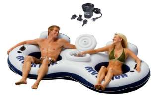 INTEX River Run II 2 Person Water Tube Float w/ Cooler & Quick Fill