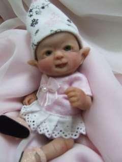 OOAK Sculpted Baby Girl Leprechaun Fairy Polymer Clay Art Doll