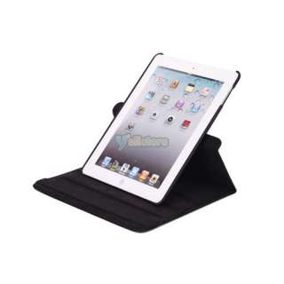 iPad 2 360 Magnetic Smart Cover Leather Case Rotating Stand Black 1 in