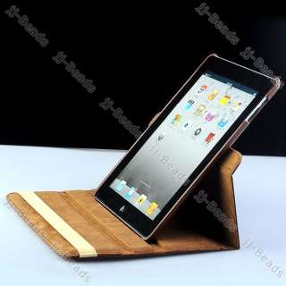 iPad 2 360° Rotating Magnetic Coffee PU Leather Case Smart Cover