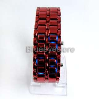Fashion Luxurys Red Lava Iron Samurai Metal LED Faceless Watch Lady