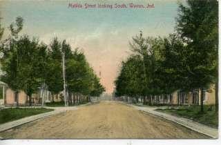 WARREN INDIANA RESIDENCE STREET SCENE POSTCARD 1908 IND
