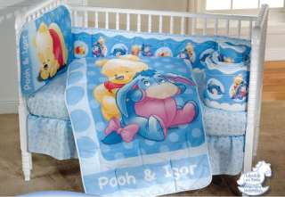 Baby Disney Winnie The Pooh Blue Crib Sheet Bedding Set