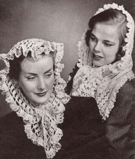 Vintage Knitting Crochet PATTERN Fascinator Head Scarf