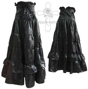 Gothic Visual Kei Dark Retro Corset SATIN Long Skirt