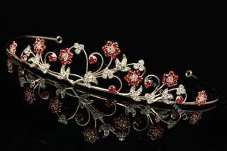 Bridal Party Wedding Veil Red Crysta Gold Tiara 9528