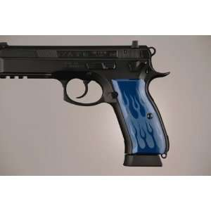 Hogue CZ 75   CZ 85 Flames Aluminum   Blue Anodized 75133