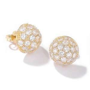 Sterling Silver / 14K Gold Plated or Rhodium Cubic Zirconia Dome