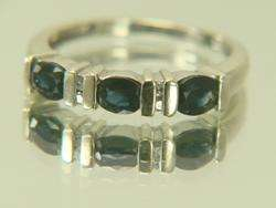 14K White Gold Blue Sapphire & Diamond Wedding Band Ring
