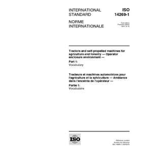 ISO 14269 1:1997, Tractors and self propelled machines for