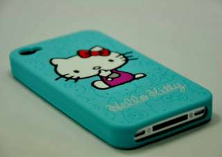 Brand New Cuty Silicone Hello Kitty Case Cover for iPhone 4G Lite Blue
