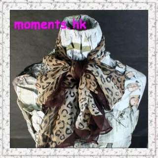 Vintage Brown Leopard Printed Touch Chiffon Scarf SA17