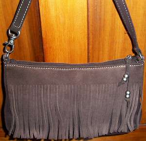 Nine West Dark Chocolate Brown Suede Fringed Handbag/Purse