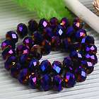 40PCS Dark Purple Crystal Glass Faceted Rondelle Beads
