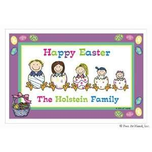 Pen At Hand Stick Figure Personalized Placemats   (Easter