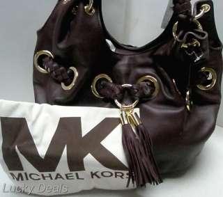 MICHAEL KORS Braided Grommet LG Handbag Tote DEEP RED