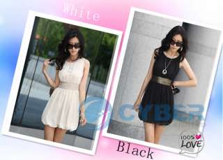 Women Korea Empire Waist Stylish Chiffon Lined Tunic Mini Dress