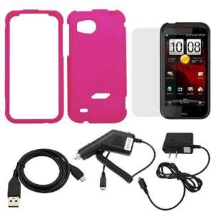 GTMax Hot Pink Hard Rubberized Snap On Case + Car Charger