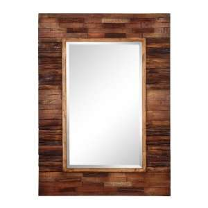Wall Beveled Mirror with Frame in Natural Finish Beauty