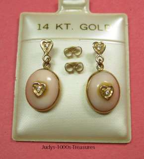 SOLID GOLD EARRINGS ANGEL CORAL 4 DIAMONDS DANGLE MADE IN ITALY