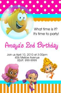 BUBBLE GUPPIES BIRTHDAY PARTY INVITATIONS 24hr Service UPRINT 4x6 or
