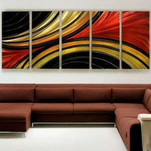 Metal Abstract Massive Painting Wall Art Sculpture Solaris Red Black