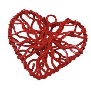 DIY Jewelry Making 12x Iron Wire Design Heart Pendant   Color Red