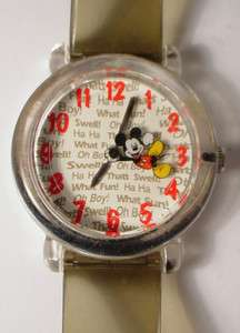 VINTAGE LADIES DISNEY MICKEY MOUSE WATCH WRISTWATCH WORKS PLASTIC