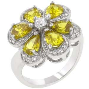 White Gold Bonded Rhodium Bonded Pear Cut Yellow CZ Ring