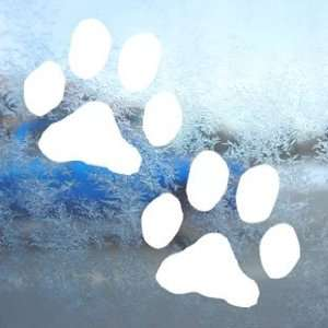 Dog Paw Prints White Decal Car Laptop Window Vinyl White