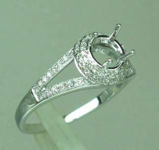 WHITE GOLD Natural DIAMOND ENGAGEMENT SEMI MOUNT setting RING