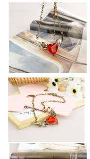Fashion glass red crystal heart love necklace pendant