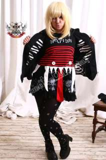 Gothic Punk Red Eye Monster Hell Bunny Hoody TUX Jacket