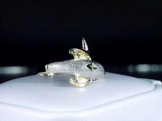 10K RUBY EYED YELLOW & WHITE GOLD DOLPHIN RING FLIPPER