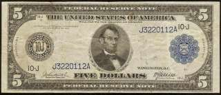 LARGE 1914 $5 DOLLAR BILL FEDERAL RESERVE BANK NOTE Fr 880 OLD PAPER
