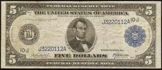 LARGE 1914 $5 DOLLAR BILL FEDERAL RESERVE BANK NOTE Fr 880 OLD PAPER