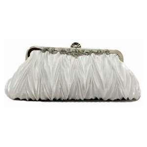 Ivory White Rhinestone Studded Bridal Wedding Clutch Purse