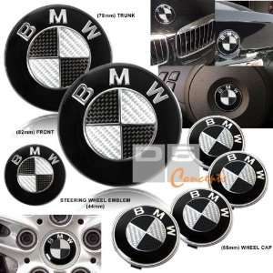 Hood/Trunk/Wheel Emblem Combo   Black/Real Carbon Fiber Automotive