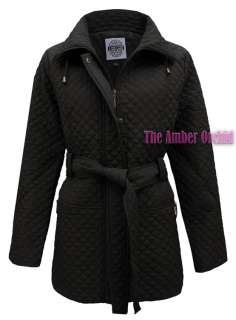 NEW WOMENS LADIES QUILTED PADDED ZIP BUTTON BELTED WINTER JACKET COAT
