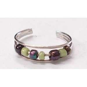Green & Metallic Beads Silver Toe Ring
