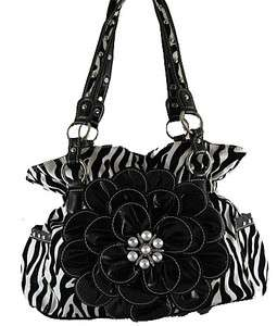 Black Zebra Flower Rhinestone Fashion Handbag Purse